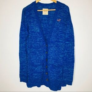 Hollister long knit cardigan sweater blue